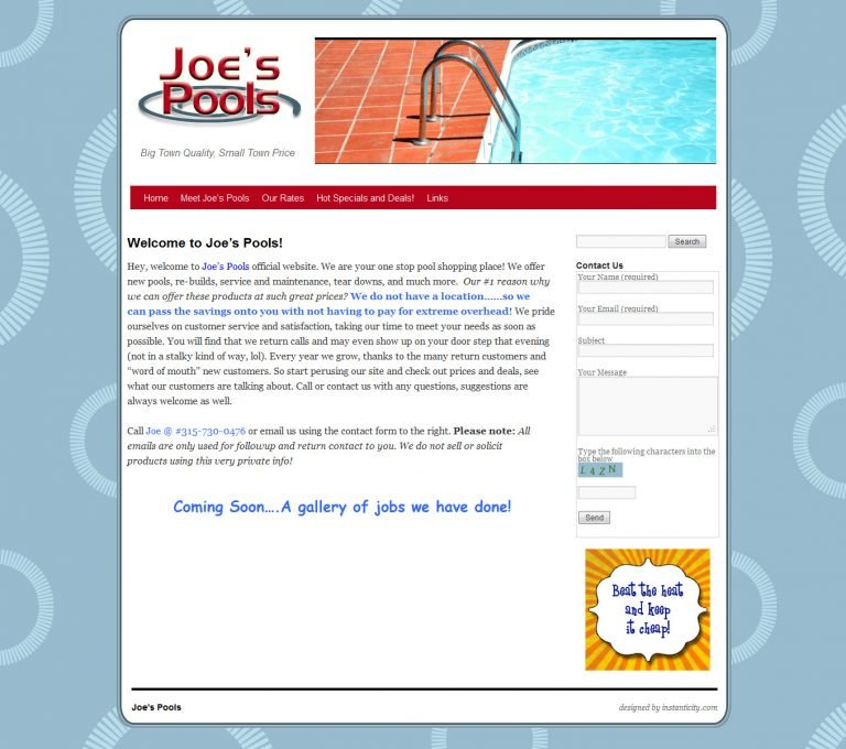 Buy Joe's Pools